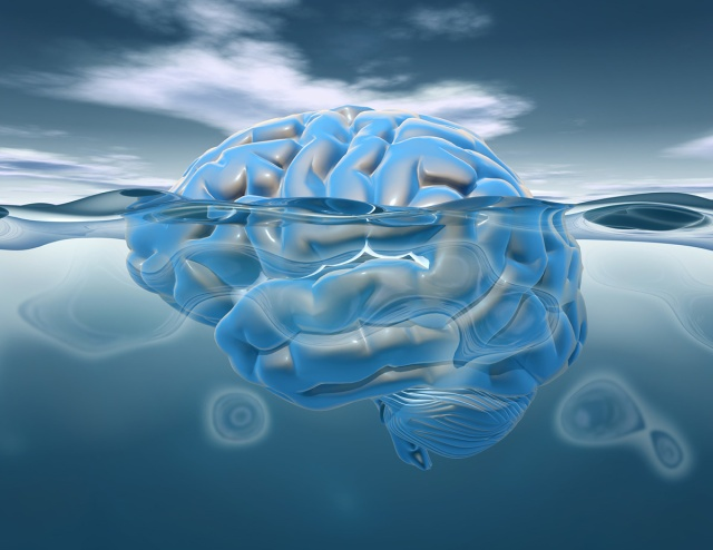 Brain under water 3D render, subconscious mental life and brains